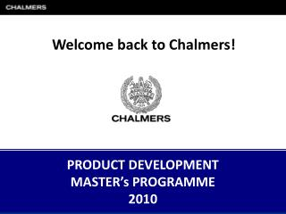 PRODUCT DEVELOPMENT MASTER�s  PROGRAMME 2010
