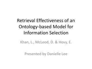 Retrieval Effectiveness of an Ontology-based Model for Information Selection