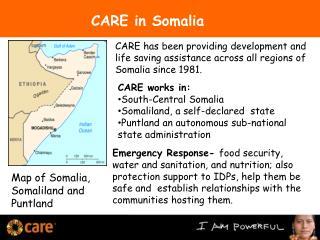 Map of Somalia, Somaliland and  Puntland