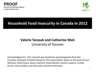 Household Food Insecurity in Canada in 2012