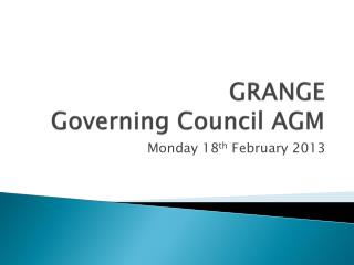 GRANGE Governing Council AGM