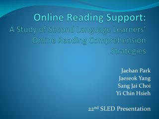 Online Reading Support:  A Study of Second Language Learners' Online Reading Comprehension Strategies