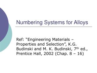 numbering systems for alloys