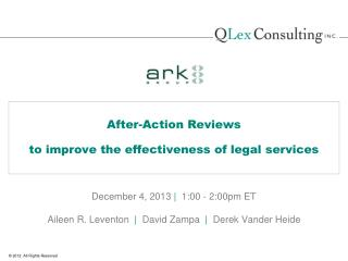 After-Action Reviews to improve the effectiveness of legal services