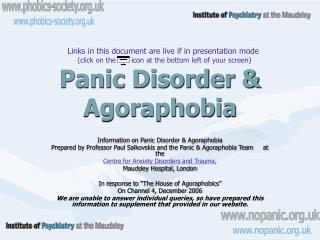 panic disorder  agoraphobia