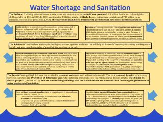 There are  three economic benefits  related to health impacts of improved water sanitation services (Hutton, 2013):