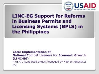 LINC-EG Support for Reforms in Business Permits and Licensing Systems (BPLS) in the Philippines