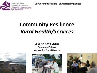 Community Resilience  - Rural Health/Services