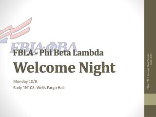 FBLA - Phi Beta Lambda Welcome Night