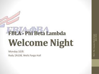 FBLA - Phi Beta Lambda Welcome Night