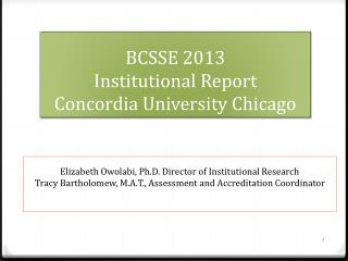 BCSSE 2013  Institutional Report Concordia University Chicago