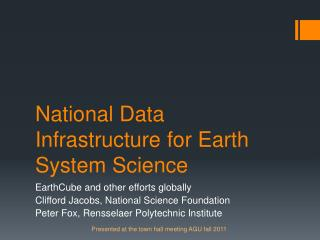 National Data Infrastructure for Earth System Science