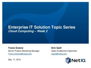 Enterprise IT Solution Topic Series Cloud Computing – Week 2