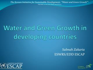 Water and Green Growth in developing countries