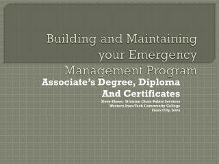 Building and Maintaining your Emergency Management Program