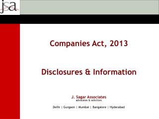 J. Sagar Associates advocates & solicitors  Delhi | Gurgaon | Mumbai | Bangalore | Hyderabad