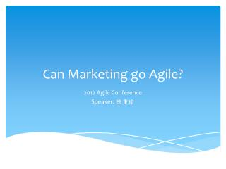 Can Marketing go Agile?