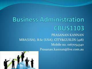 Business Administration CBUS1103