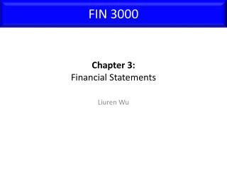 Chapter 3: Financial Statements