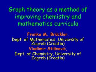 graph theory as a method of improving chemistry and mathematics curricula