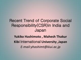 Recent Trend of Corporate Social Responsibility(CSR)in India and Japan