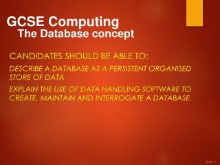 GCSE Computing The Database concept