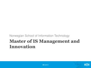 Master of IS Management and Innovation