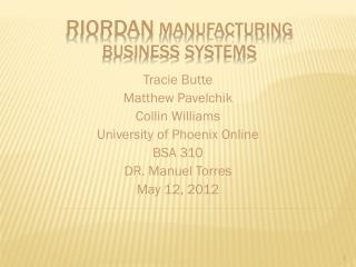 Riordan  Manufacturing Business Systems