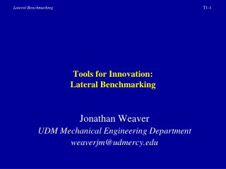 tools for innovation: lateral benchmarking