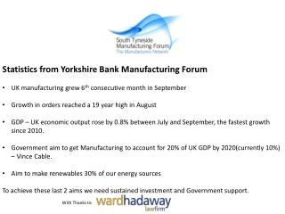 Statistics from Yorkshire Bank  Manufacturing Forum UK manufacturing grew 6 th  consecutive month in  September