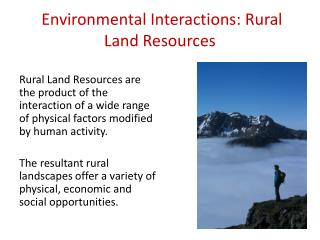 Environmental Interactions: Rural Land Resources