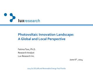 Photovoltaic Innovation Landscape:            A Global and Local Perspective