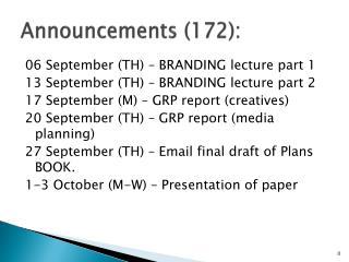Announcements (172):