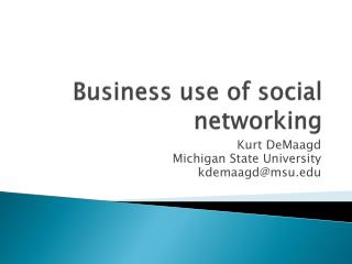 Business  use  of  social networking