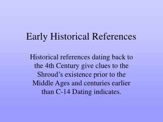 early historical references