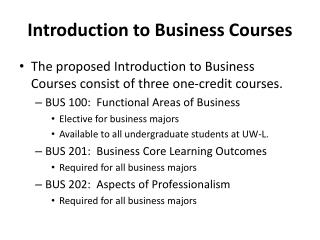Introduction to Business Courses