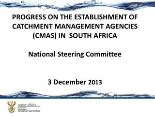 PROGRESS ON THE ESTABLISHMENT OF CATCHMENT MANAGEMENT AGENCIES  (CMAS) IN  SOUTH AFRICA National Steering Committee 3 D