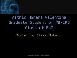 Astrid  Harera Valentina Graduate Student of MB-IPB Class of R47