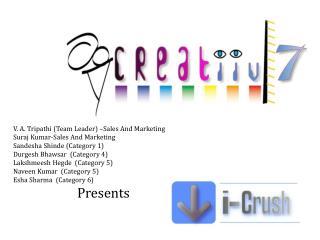 V. A. Tripathi (Team Leader) –Sales And Marketing Suraj Kumar-Sales And Marketing Sandesha Shinde (Category 1) Durgesh