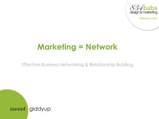 Marketing = Network Effective Business Networking & Relationship Building