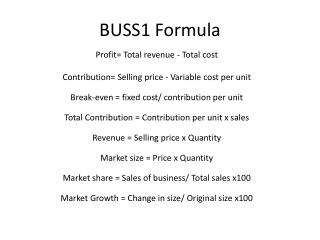 BUSS1 Formula