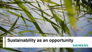 Sustainability as  an opportunity