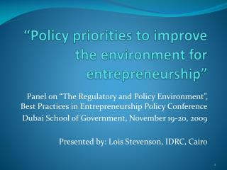 """Policy priorities to improve the environment for entrepreneurship"""