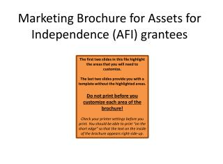 Marketing Brochure for Assets for Independence (AFI) grantees