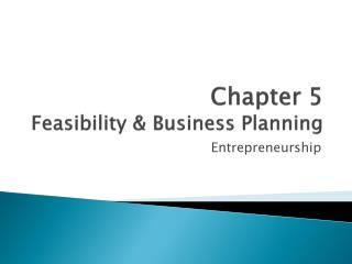 Chapter 5 Feasibility &  B usiness Planning