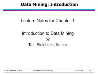 Data Mining: Introduction