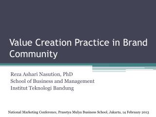 Value Creation Practice in Brand Community