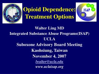 opioid dependence:  treatment options