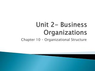 Unit 2- Business Organizations
