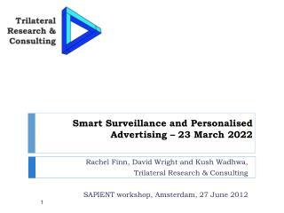 Smart  Surveillance and Personalised Advertising � 23 March 2022